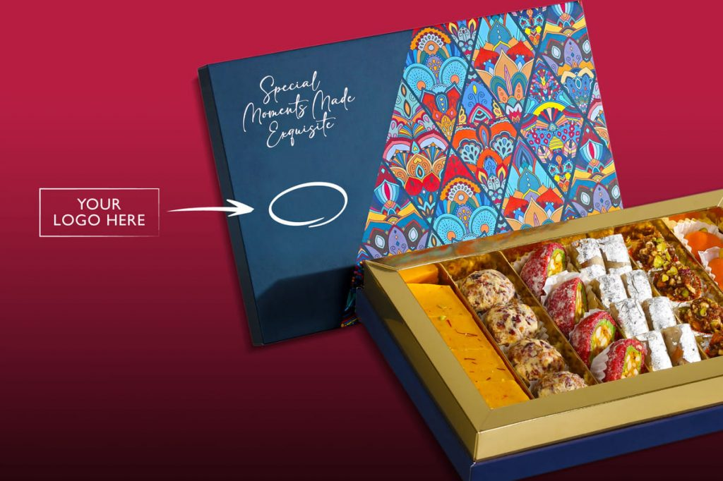 Diwali sweet box for corporate with logo